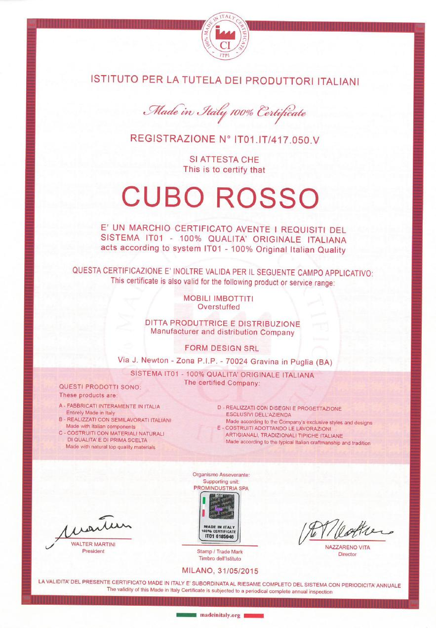 certification made in italy 100 cuberosso 2016